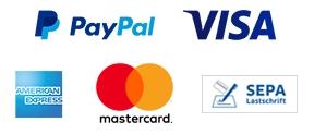 Bezahle mit PayPal, Kreditkarte oder Lastschrift